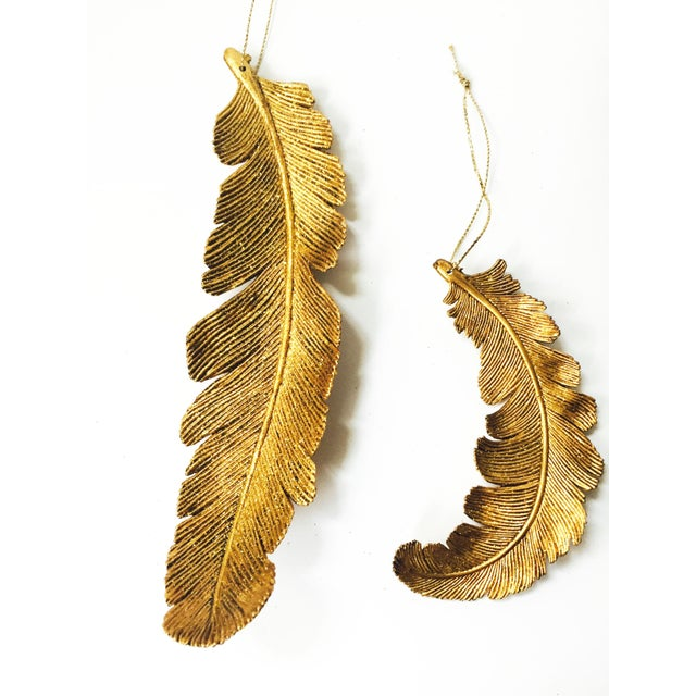 Vintage Gold Feather Ornaments - Set of 4 - Image 4 of 5