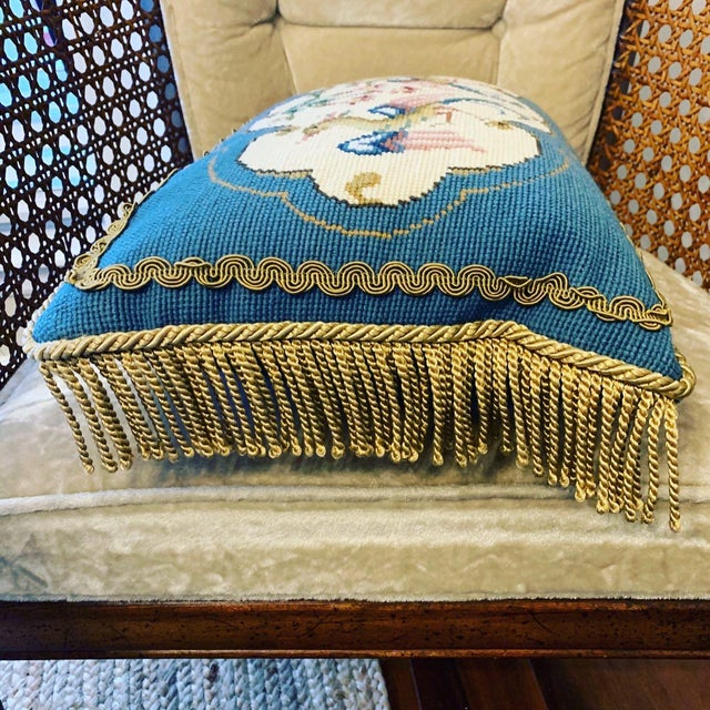 Asian Vintage Bird Motif Needlepoint Pillow For Sale - Image 3 of 7