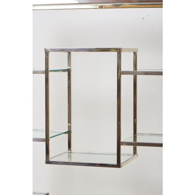 Hollywood Regency Very Huge Brass and Tinted Glass Bookshelf or Étagère by Romeo Rega For Sale - Image 3 of 6