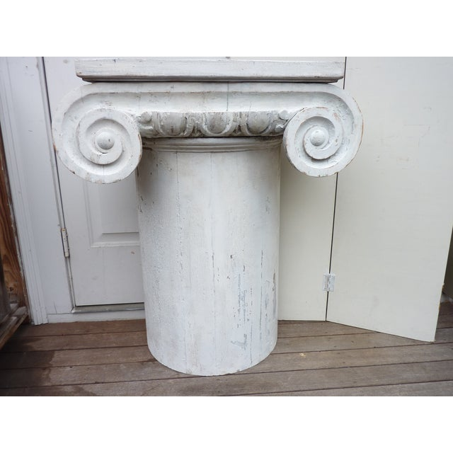 Neoclassical Column Pedestal Consoles - A Pair For Sale - Image 3 of 6