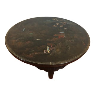 Chinese-Style Black Lacquered Coffee Table With Mother of Pearl Inlay