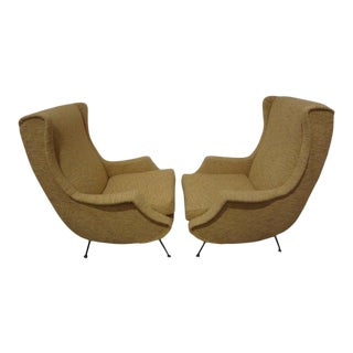 1960s Vintage Italian Modern Minotti Style Lounge Chairs-Pair For Sale