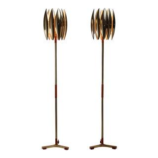 Jo Hammerborg Pair of Kastor Floor Lamps, Denmark, 1960s For Sale