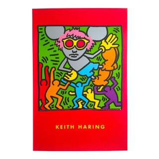 "Keith Haring Estate Rare 1993 Lithograph Print Collector's Pop Art Poster "" Andy Mouse "" 1986 For Sale"