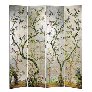 Chinoiserie Decorative Crafts Hand Painted Silver Screen For Sale
