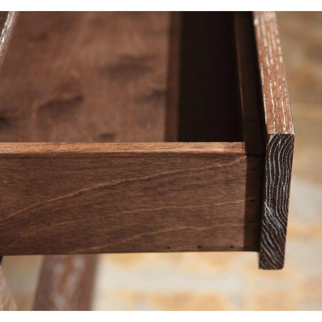 Not Yet Made - Made To Order Paul Marra Ceruse Oak Two-Tier Nightstand For Sale - Image 5 of 10