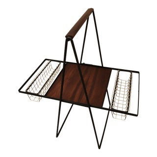 1960s Mid Century Modern Teak and Iron Folding Stand With Wire Baskets For Sale