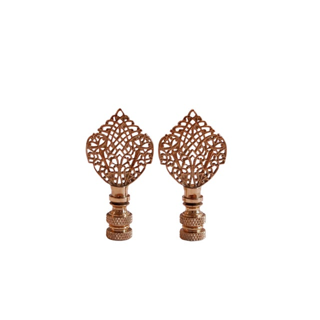 Brass Filigree Lamp Finials - a Pair For Sale - Image 4 of 4
