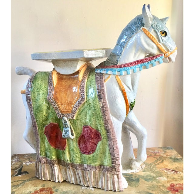 Unicorn Horse Majolica Garden Seat - Image 5 of 5