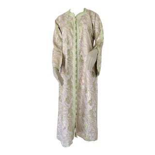 Moroccan Caftan Lime Green and Silver Metallic Floral Brocade For Sale