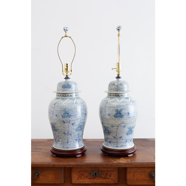 Chinese Porcelain Blue and White Ginger Jar Lamps For Sale - Image 9 of 12