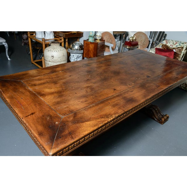 French Antique Hand Carved Oak Wood Trestle Library Table For Sale - Image 9 of 12