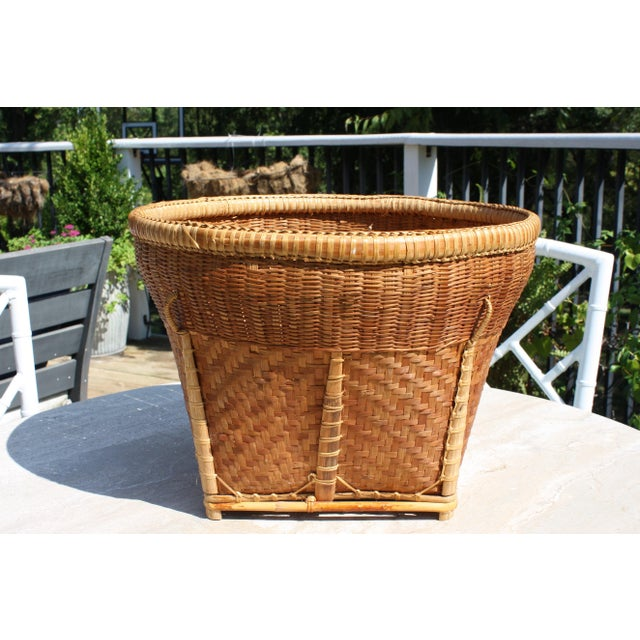 Large Vintage Woven Basket Planter For Sale - Image 4 of 13