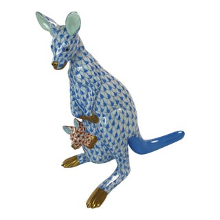 Herend Kangaroo and Joey Blue Fishnet Figurine For Sale