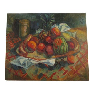 Johns Signed 1930s 1950s 30 Inch Oil Still Life Painting Fruit Impressionism For Sale