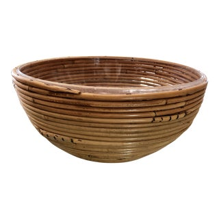 Bamboo & Lucite BowlCenterpiece For Sale