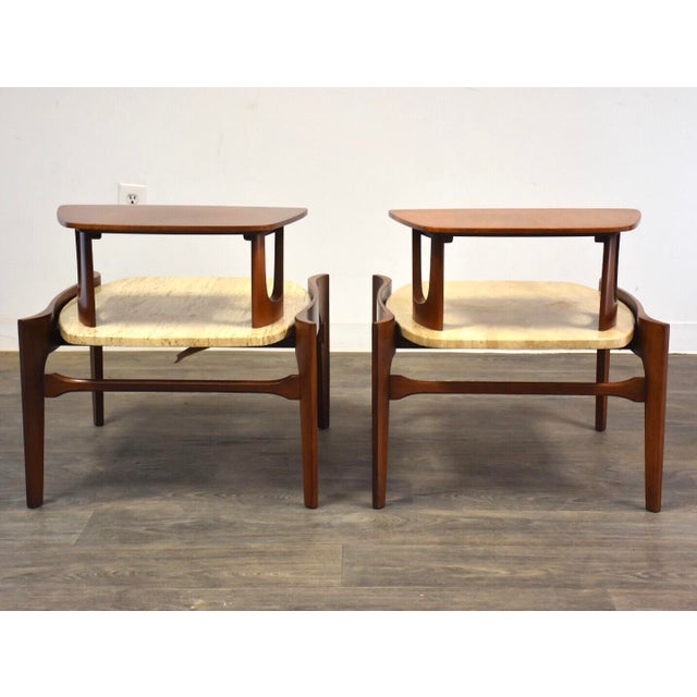 1950s Bertha Schaefer Walnut and Travertine End Tables - a Pair For Sale - Image 5 of 11