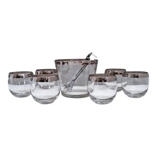 Dorothy Thorpe Style Mid Century Ice Bucket, Tongs, Roly Poly Glasses - Set of 8 For Sale
