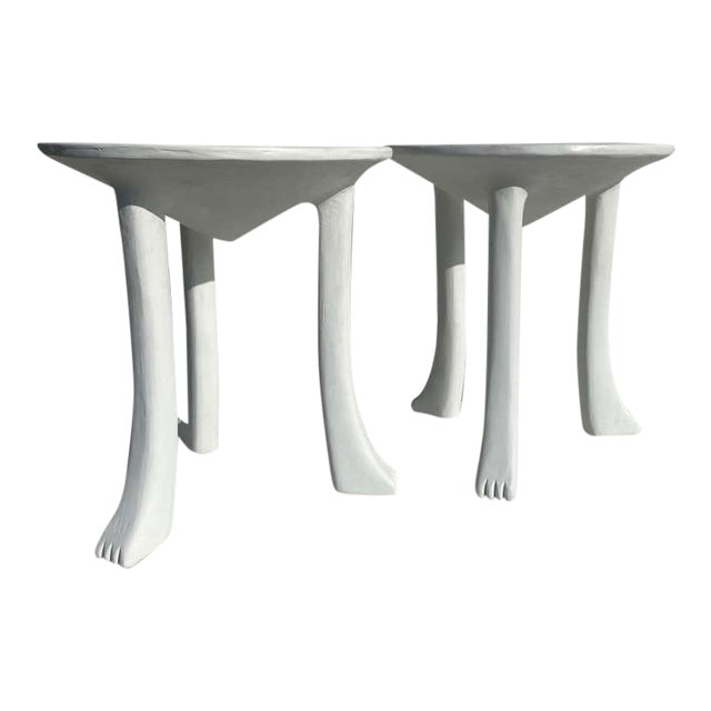 African Side Tables with Feet - a Pair For Sale