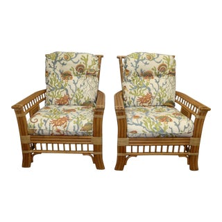 Coastal Creations Rattan Armchairs With High-End Embroidered Crewel Cushions- a Pair For Sale