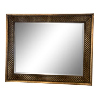 1990s Gold Gilt Beveled Mirror With Mermaid Fin Design and Border For Sale