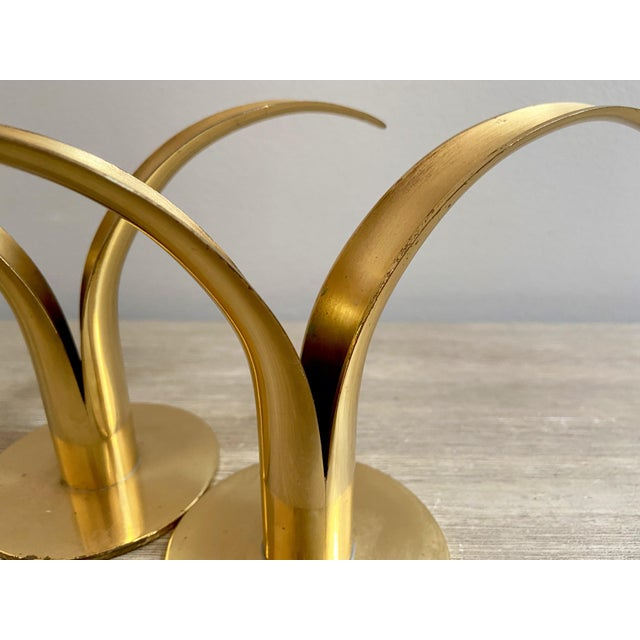 Brass Swedish Mid-Century Brass Candlesticks by Ystad Metall - a Pair For Sale - Image 8 of 13