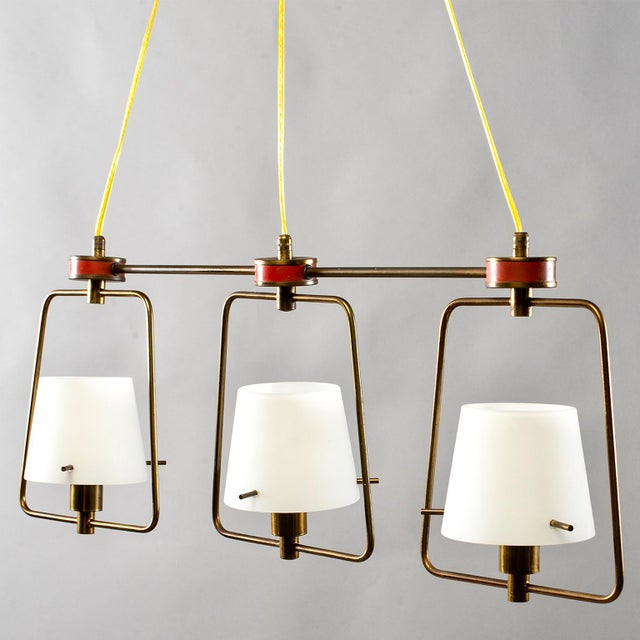 Mid Century Stilnovo Chandelier With Frosted Glass Shades For Sale - Image 12 of 12