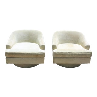 Vintage Milo Baughman Style Swivel Lounge Chairs by Selig - a Pair For Sale