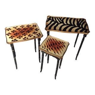 Animal Skin Print Design Nesting Tables - Set of 3