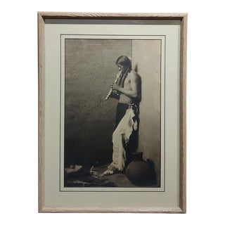 "Karl Moon ""Native American Indian Blowing His Flute"" 1908 Original Photogravure For Sale"
