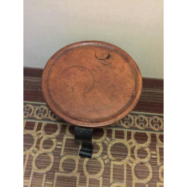 1970s ELEGANT HERMES STYLE WHIPPED STITCHED LEATHER TOPPED IRON BASE TABLE For Sale - Image 5 of 8