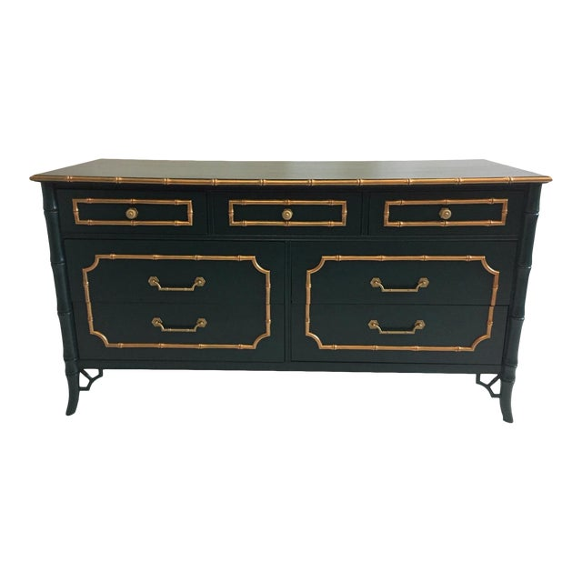 Faux Bamboo Vintage Dresser With Mirror For Sale