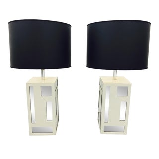 Vintage Mid-Century Mirrored Lamps - A Pair For Sale