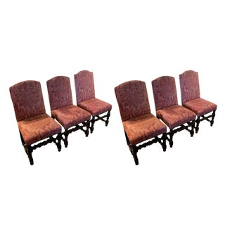 18th C. French Upholstered Walnut Dining Chairs - Set of 6 For Sale