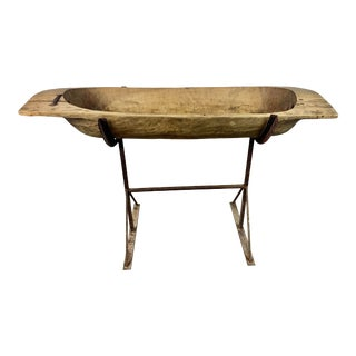 19th Century French Dough Bowl on Iron Base For Sale