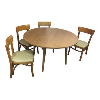 Mid-Century Vintage Thonet Bentwood Table & Chairs- 5 Pieces