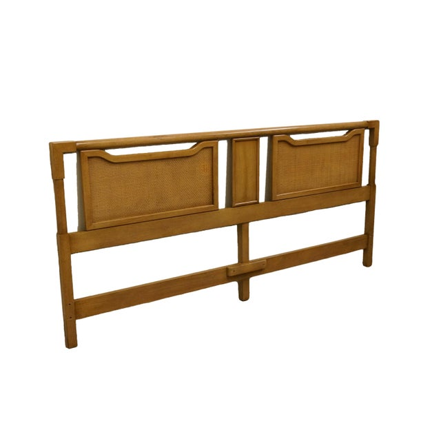High end contemporary modern king size panel headboard w. Cane-like detail. Cannot identify brand, but comparable in...