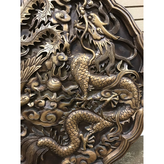 Chinese Vintage Monumental Asian Wall Medallion Wall Plaque Dragon and Phoenix Resin Fiberglass For Sale - Image 3 of 8