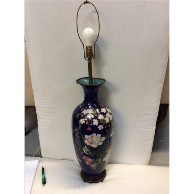 This is a very large rare sized Japanese cloisonné enamel copper lamp. The vase has been drilled and made into a vamp. The...