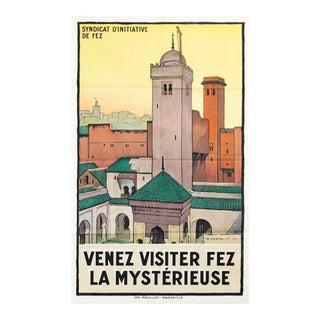 1930s Original French Art Deco Travel Poster, Venez Visiter Fez La Mystérieuse For Sale