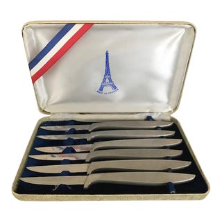 French Vintage Royal Brand Joan of Arc Stainless Steele Steak Knives in Original Case - Set of 6 For Sale