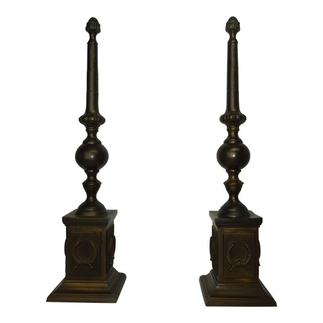 Oversized Bronze Neoclassical Finials - A Pair - Image 1 of 8