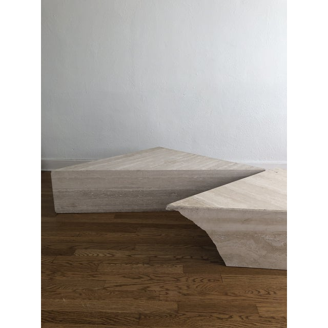 Vintage Travertine Stone Triangle Coffee Table - 2 Pieces For Sale - Image 12 of 13