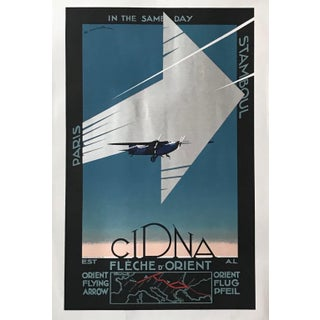 1990s Vintage Art Deco Style Aviation Poster, Cidna (Re-Issue), Framed For Sale
