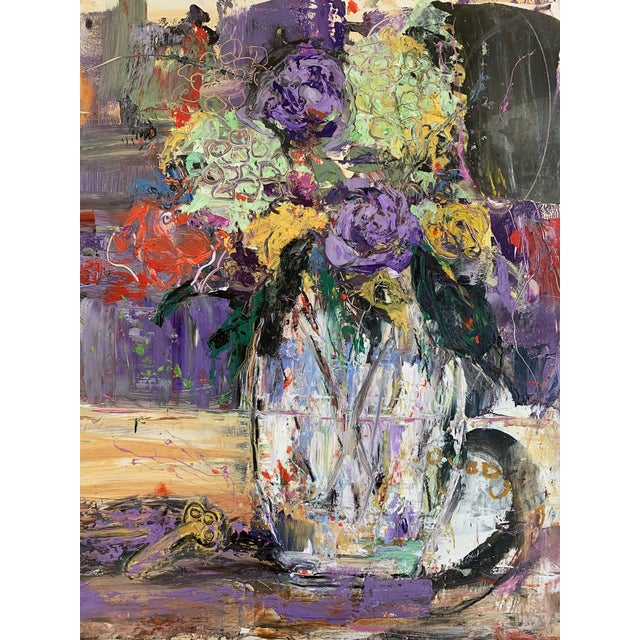 A modern floral by JJ Justice. Oil on wood panel mixed with collage. Purple, red, black, yellow green.