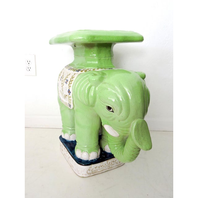 Ceramic Lime Green Elephant Stand/Side Table - Image 2 of 7