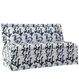 Image of Skirted Settee in Navy Ribbon by Angela Chrusciaki Blehm for Chairish