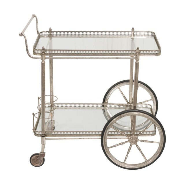 French Vintage Silver Bar Cart For Sale - Image 13 of 13