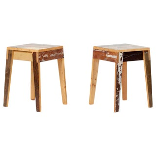 Pair of Lacquered Oak Stools by Piet Hein Eek For Sale