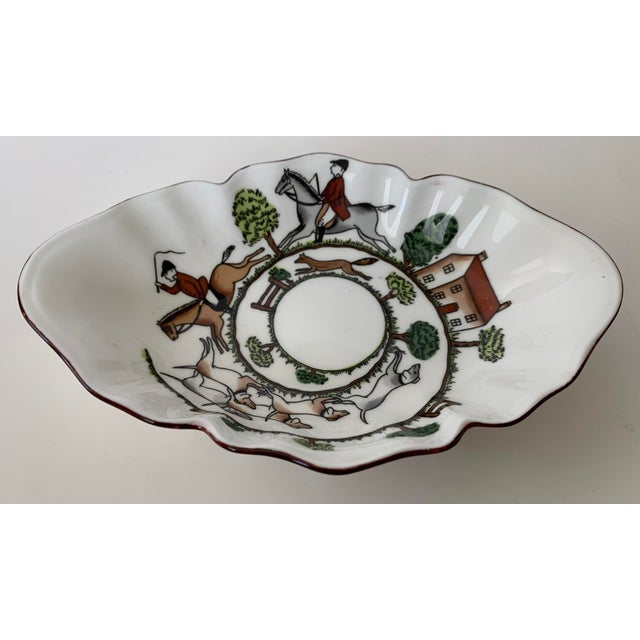 """Delicate ruffled edge bone china bowl by Crown Staffordshire depicting a """"Hunting Scene"""". Perfect catchall, display piece..."""